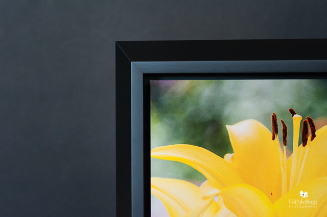 front close up view of wedge float frame, black framed art