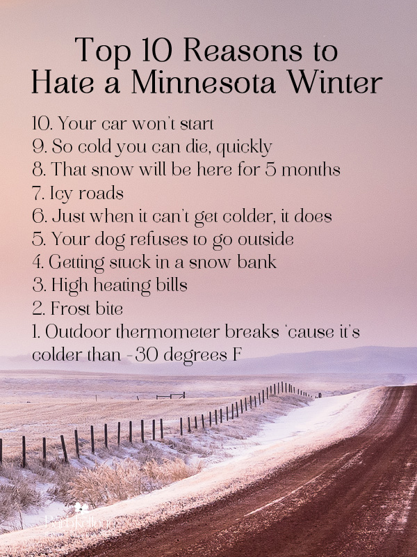 winter image with 10 reasons to hate a Minnesota winter