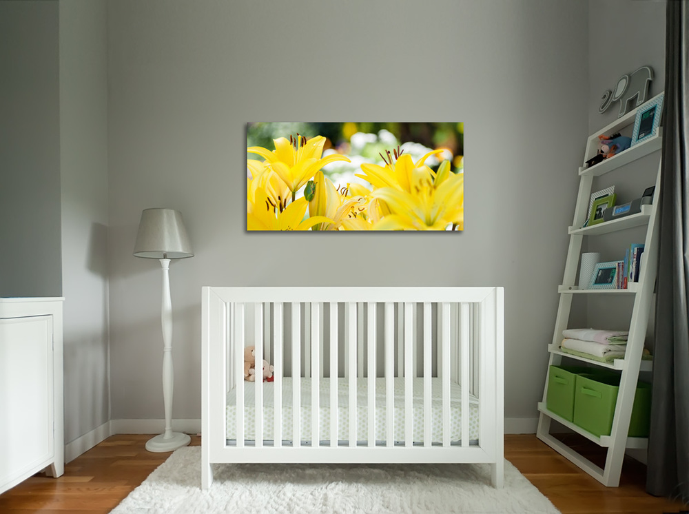 Example of Frog in the Garden in a nursery, Special Order, 20x40 Fine Art Gallery Canvas Gallery Wrap