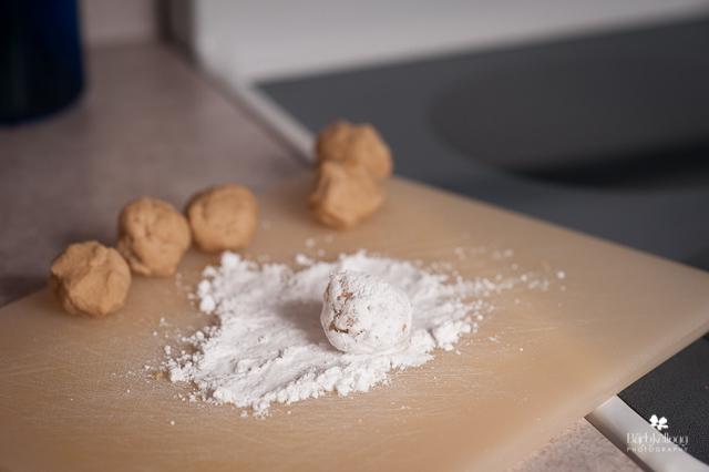 Using whole wheat flour. The batter was definitely whiter with white flour.