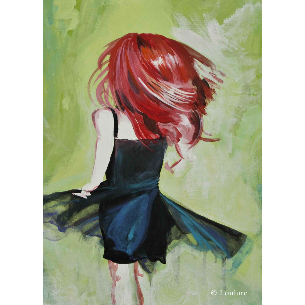 "She would twirl in the grass. Barefoot. Dizzy. Enamored Air , by Lou Tollefson, Acrylic on canvas, 14"" x 18"""