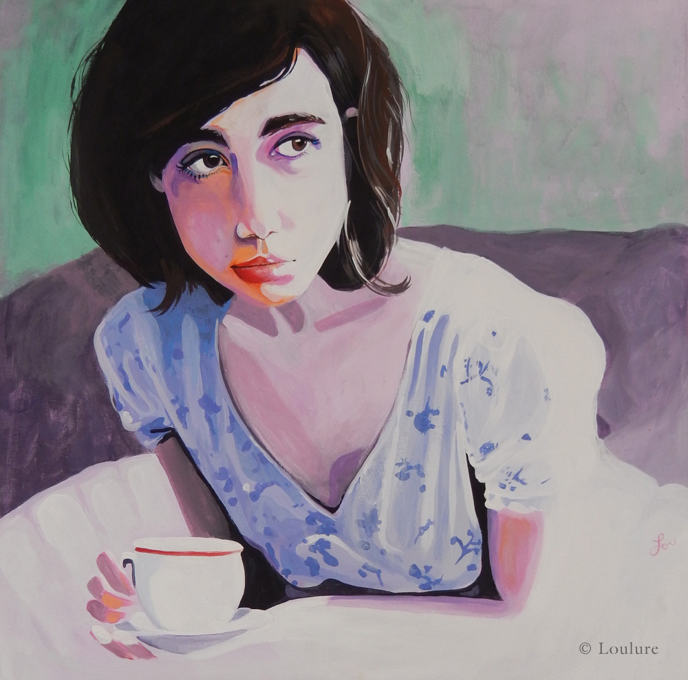 "Tea Time,  by Lou Tollefson, Acrylic on canvas, 18"" x 18"""
