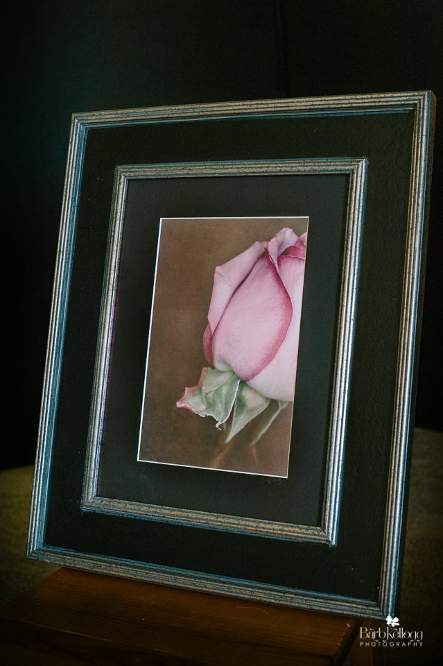 Touch of Pink, by Barb Kellogg, matted and framed