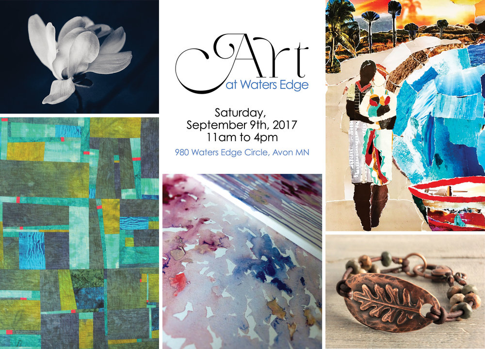 ART AT WATERS EDGE - five artists. Counterclockwise from upper left: Barb Kellogg, Caron Lage, Olivia Jakel, Debby Hess, Sarah Drake
