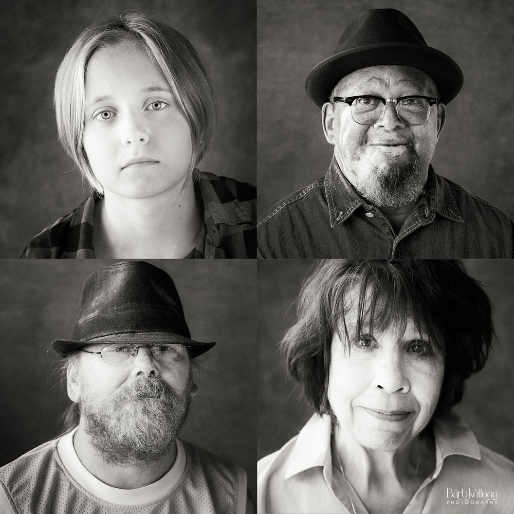Portraits of a few of the people who shared their stories that will also be a part of the exhibit, both in person and coming in May here online. All photography by Barb Kellogg.