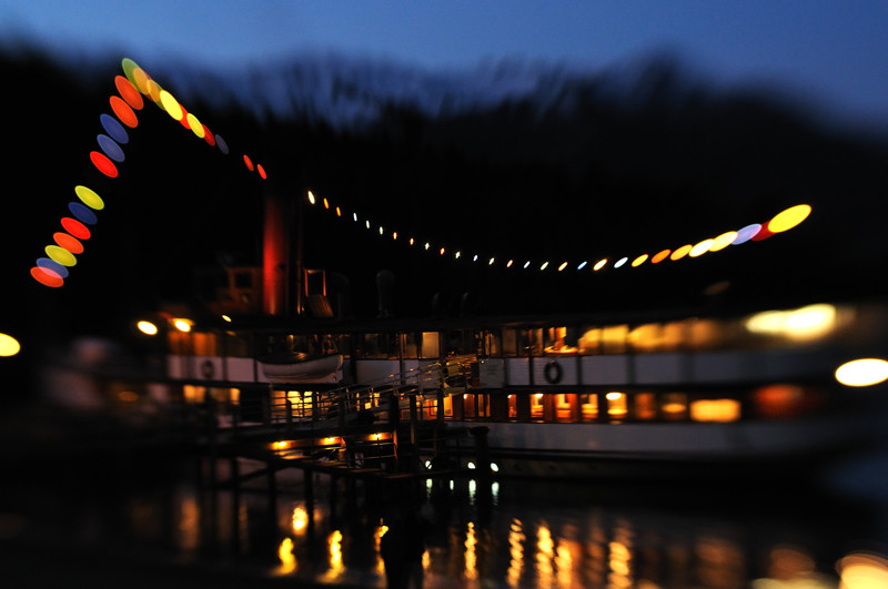 Steamboat at night (taken using a Lensbaby)
