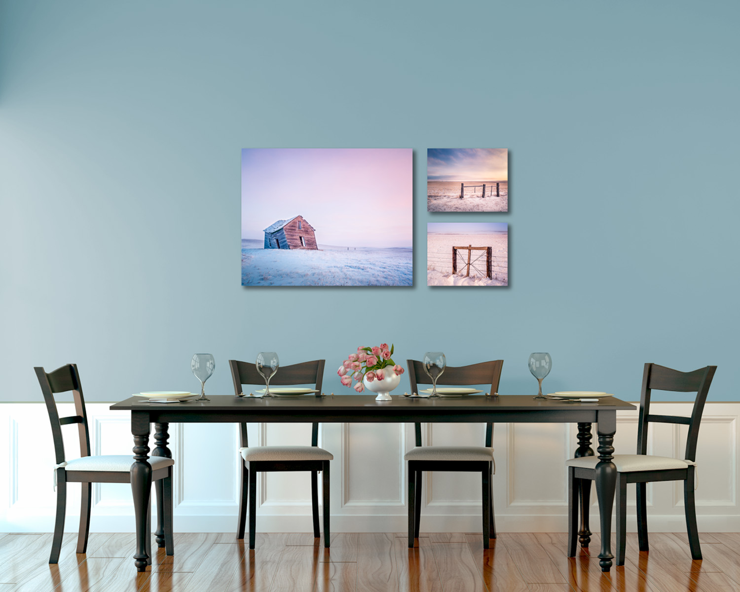 Three images of Montana on gallery wraps
