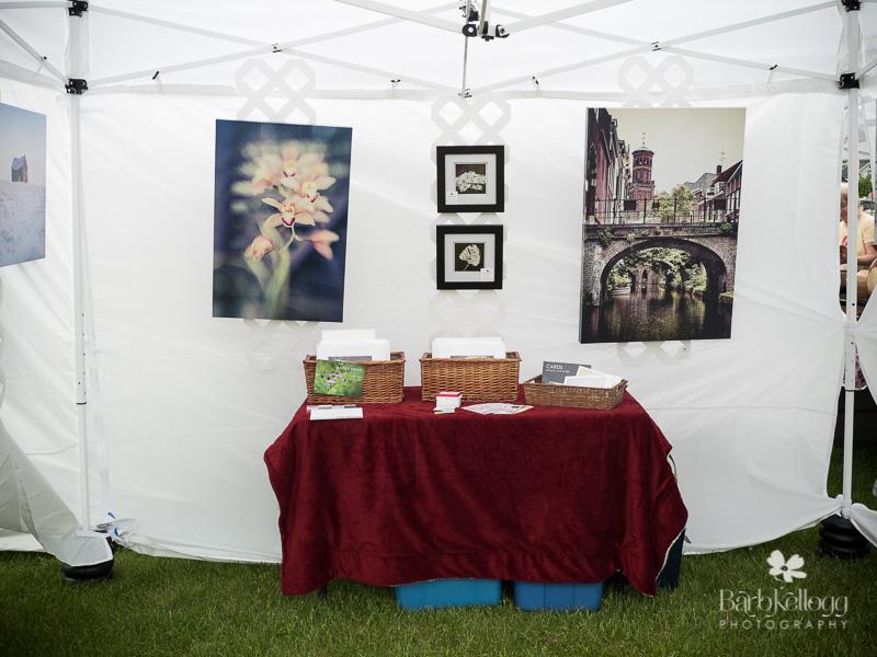 art fair display inside tent