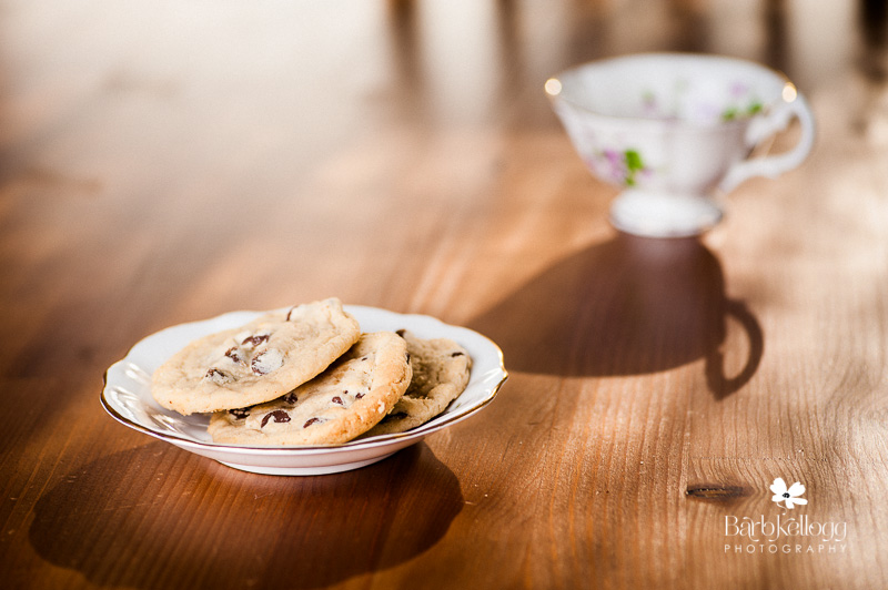 Chocolate chip cookies in a pretty plate