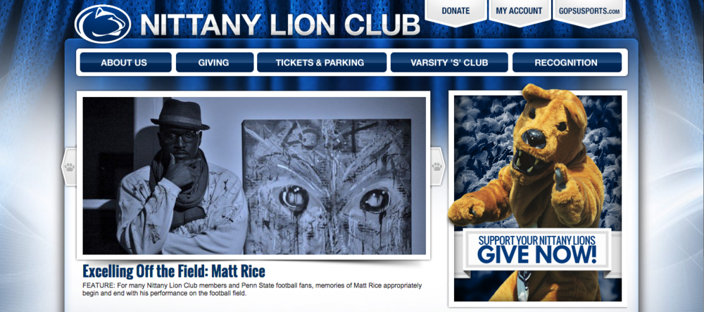 Matthew Rice featured on the homepage of the Nittany Lion Club website. 4/5/2015