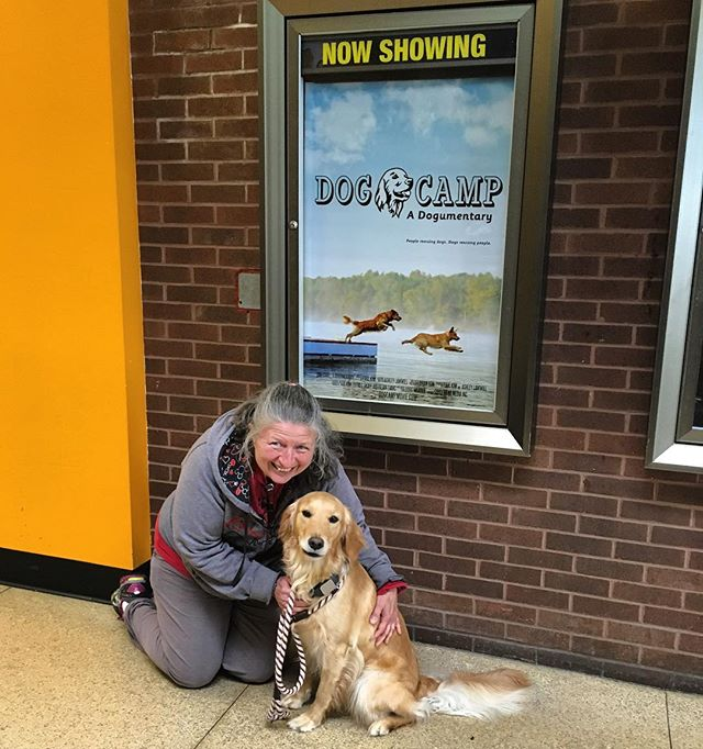 Agility stars Disney and @marianhrycyk at last month's private screening!  #tbt #dogs #dogcamp #film #documentary #movie #dogsofinstagram #golden #goldenretriever #athlete #star