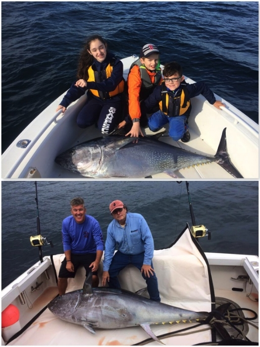 Picutre of a large school bluefin tuna caught during Kids Fishing Camp