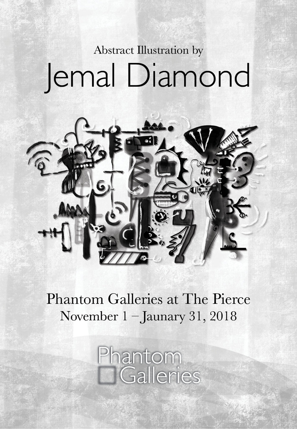 - Phantom Galleries is pleased to present a special collection of limited-edition prints by abstract artist Jemal Diamond. The collection, created solely on the Apple iPad, explores at the cross-section of digital design and traditional mark making to create new, contradictory, layered, abstracted figures and landscapes. A graduate of the School of the Art Institute of Chicago, Jemal takes a playful, improvisational approach that aims to keep the viewer's joyful engagement while introducing a wide-range of darker graphic indicators and visual cues.For this exclusive collection, each limited-edition fine art print, hand-signed by Jemal, is beautifully mounted in a black satin wood frame, printed on Pura Fine Art velvet paper, 4-ply conservation rag mat, and acrylic non-glare glazing.Curator Vivian Giourousis' teaser video: click here.