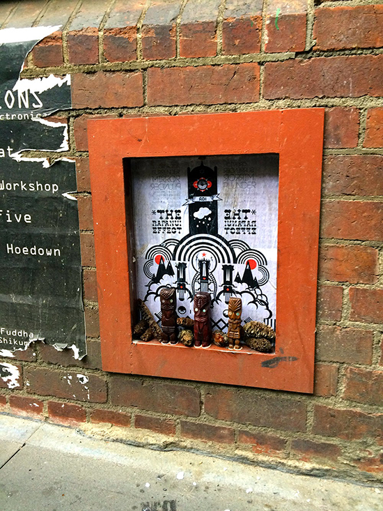 "A new installation I put up in Tattersalls Lane opposite Section 8. ""The Rapanui Effect"" consists of paste up and other found objects I have collected along the way, hopefully it lasts a while without people pulling it apart... And design below."