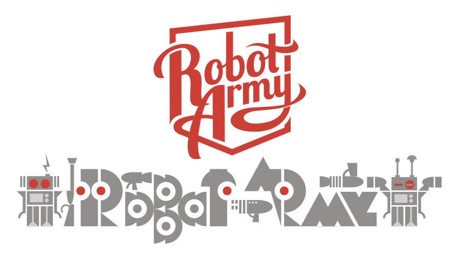 Robot Army Productions - conceptual design for Robot Army head office feature wall mural, approximately 8m x 3m.