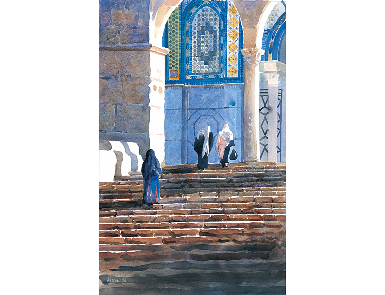 Steps on the Haram, Jerusalem - (Sold)