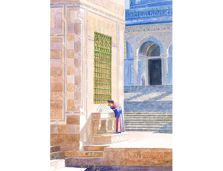Drinking at the Fountain, Temple Mount - (Sold)