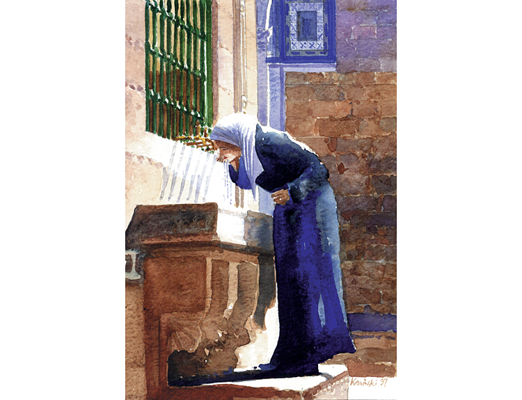 Drinking at the Fountain, Jerusalem - (Sold)