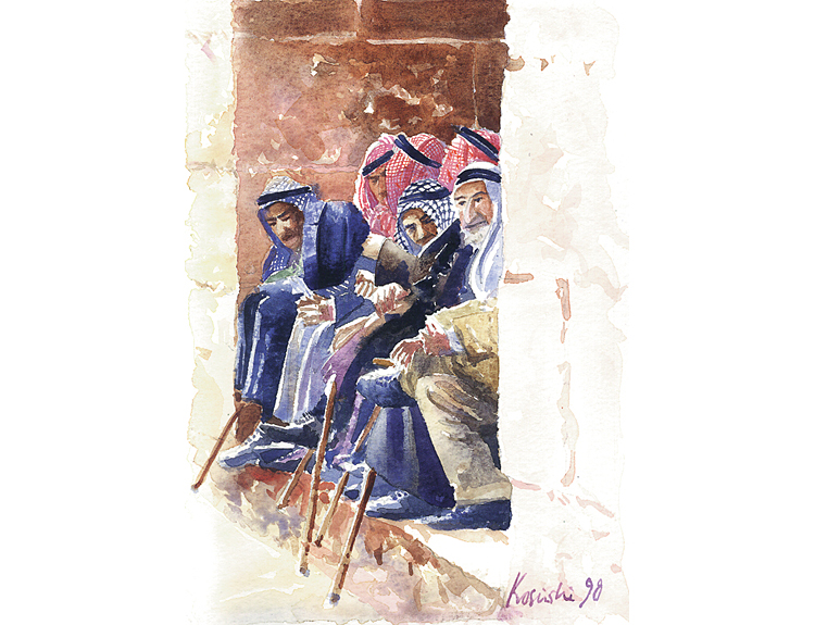 Elders at the Gate, Jerusalem - (Sold)