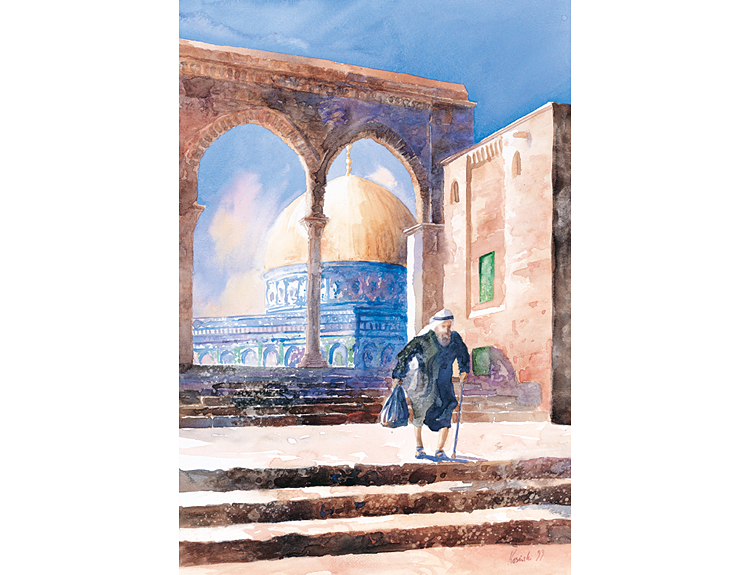 Old Man on Haram, Jerusalem - (Sold)