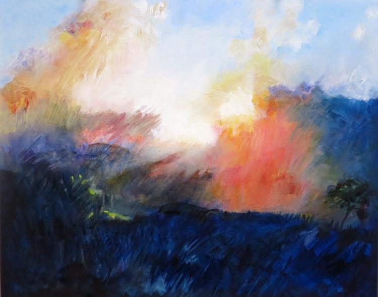 "Sunrise from Bear Pen, Ashe County, NC - 16"" x 20"" oil on canvas"