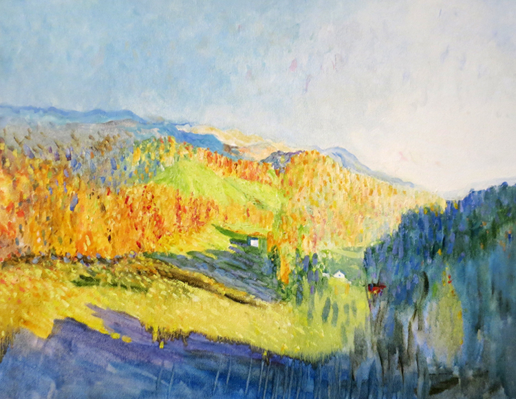 "Sunrise over lost Province, Ashe County, NC - 14"" x 18"" oil on canvas"