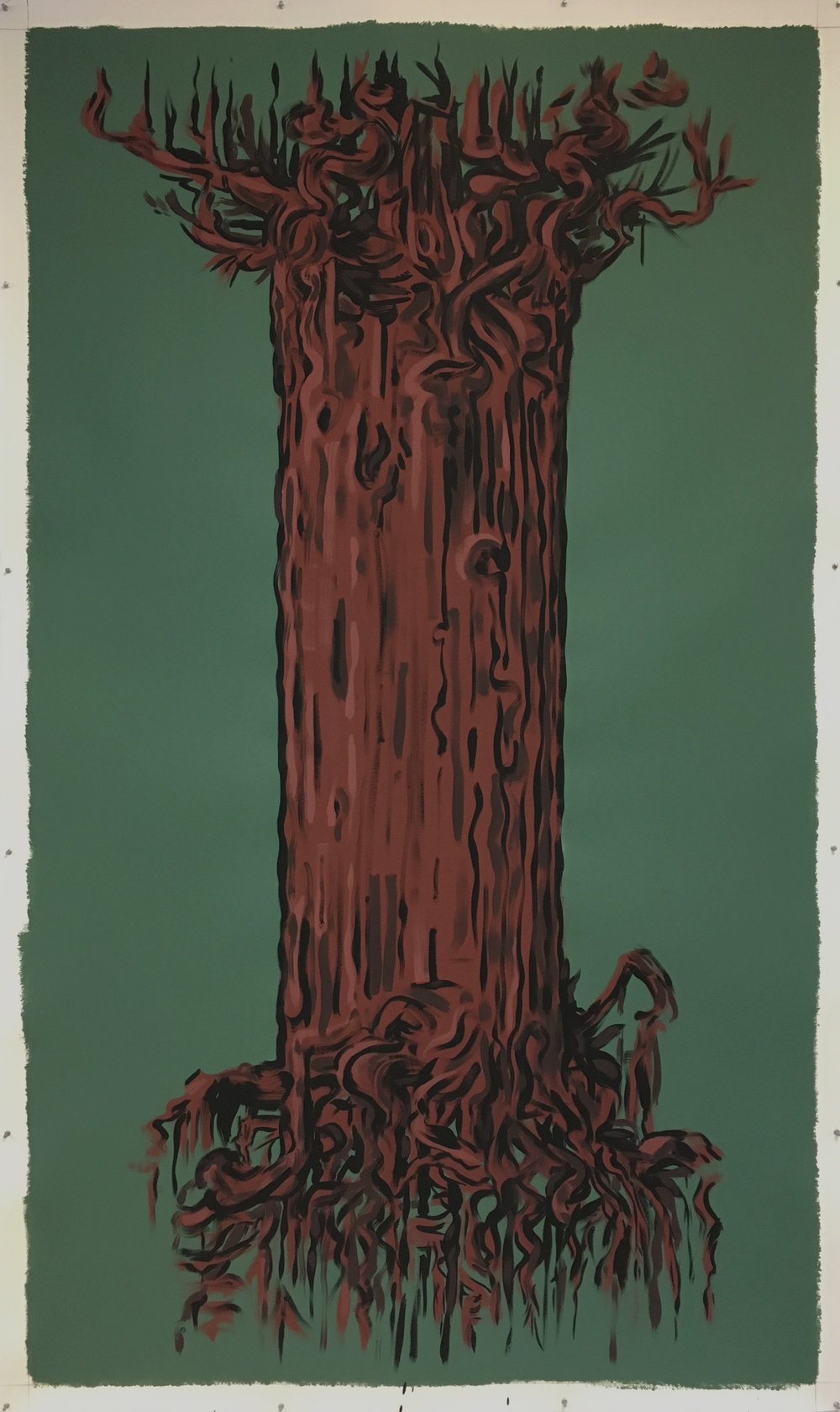 "Big Tree IV,   2017 Tempera and pigmented gesso on paper, 100"" x 60"""