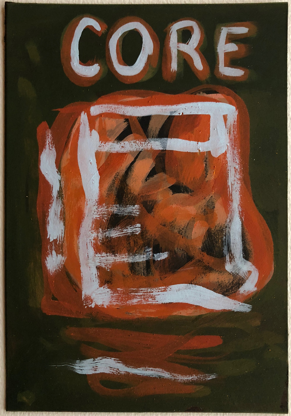 "Core,   2017 Pigment and egg tempera on matboard, 10"" x 7.5"""
