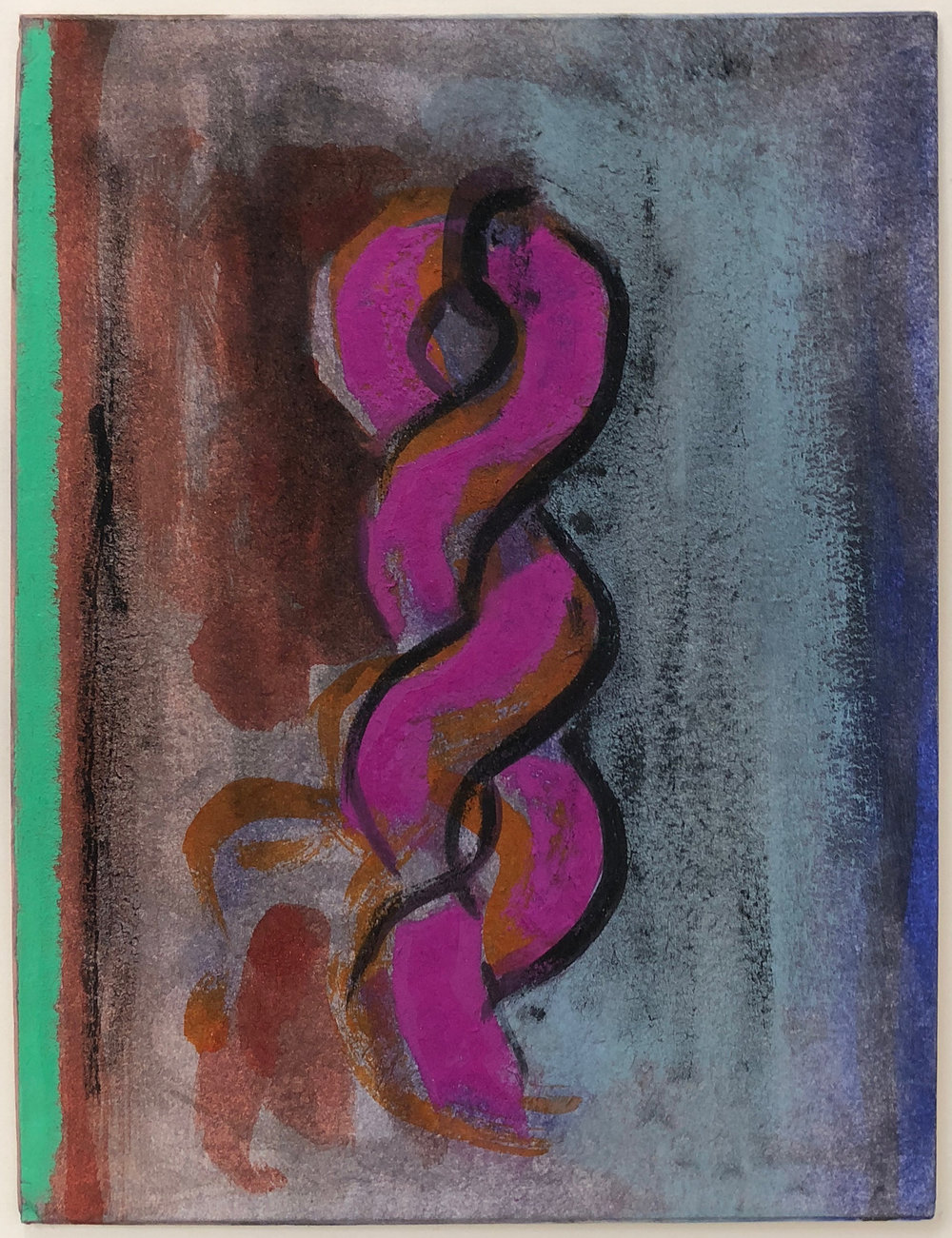 "Votive,   2012 Pastel and acrylic polymer on matboard, 8"" x 6"""