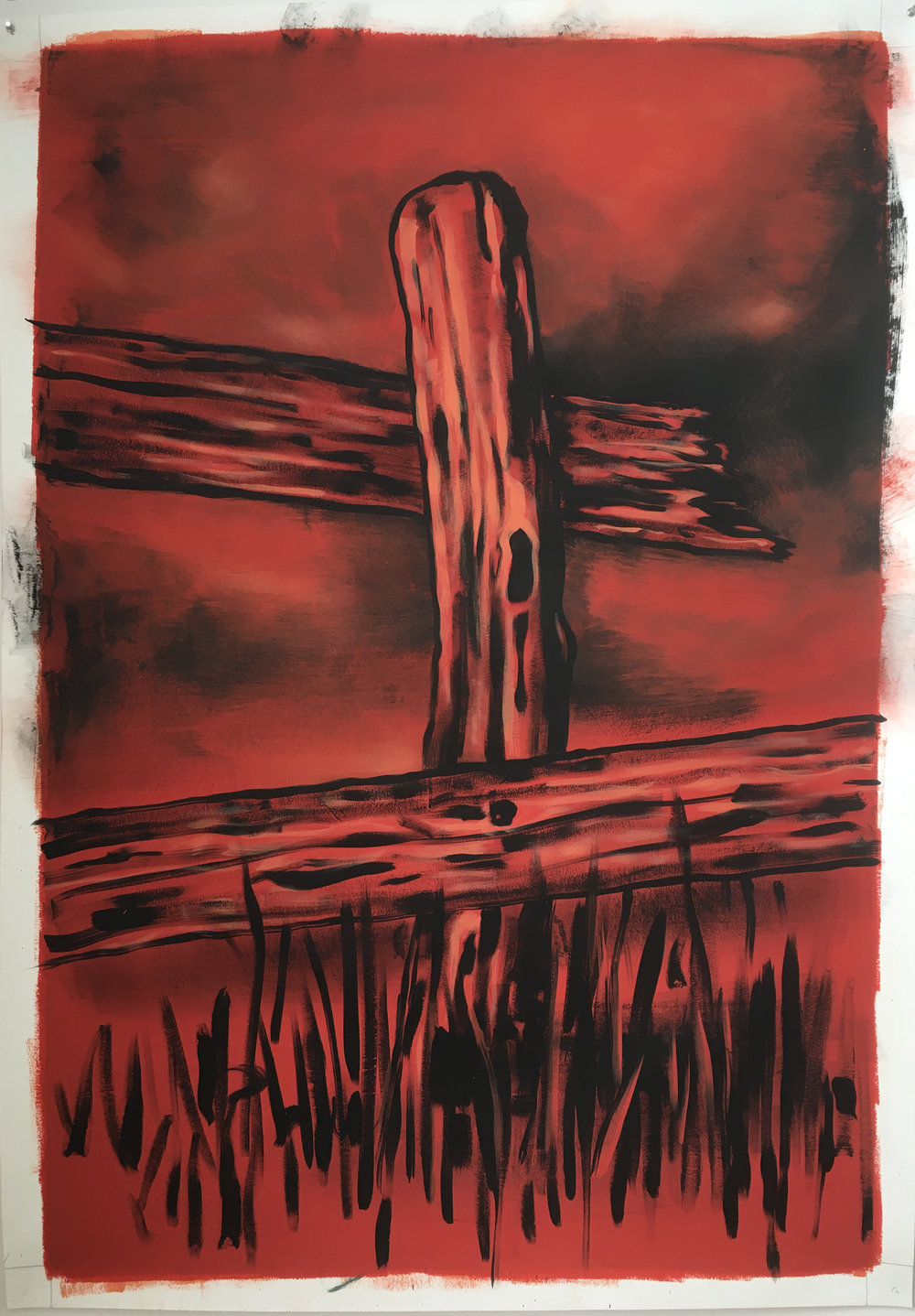 "Steeple,   2017 Tempera and gesso on paper, 60"" x 40"""