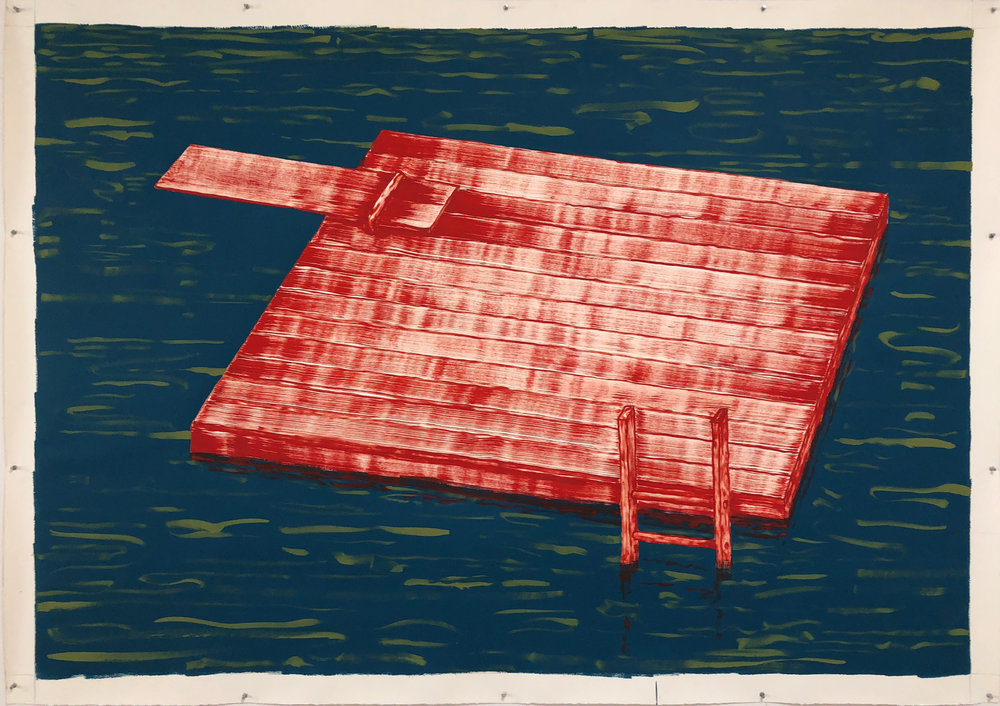 """The Raft,   2018 Aqua-dispersion, tempera, and gesso on paper, 60"""" x 84""""  Currently on view in    Hover: Works by Patrick Dunfey      at Lyceum Gallery, The Derryfield School, Manchester, NH through November 4, 2018"""