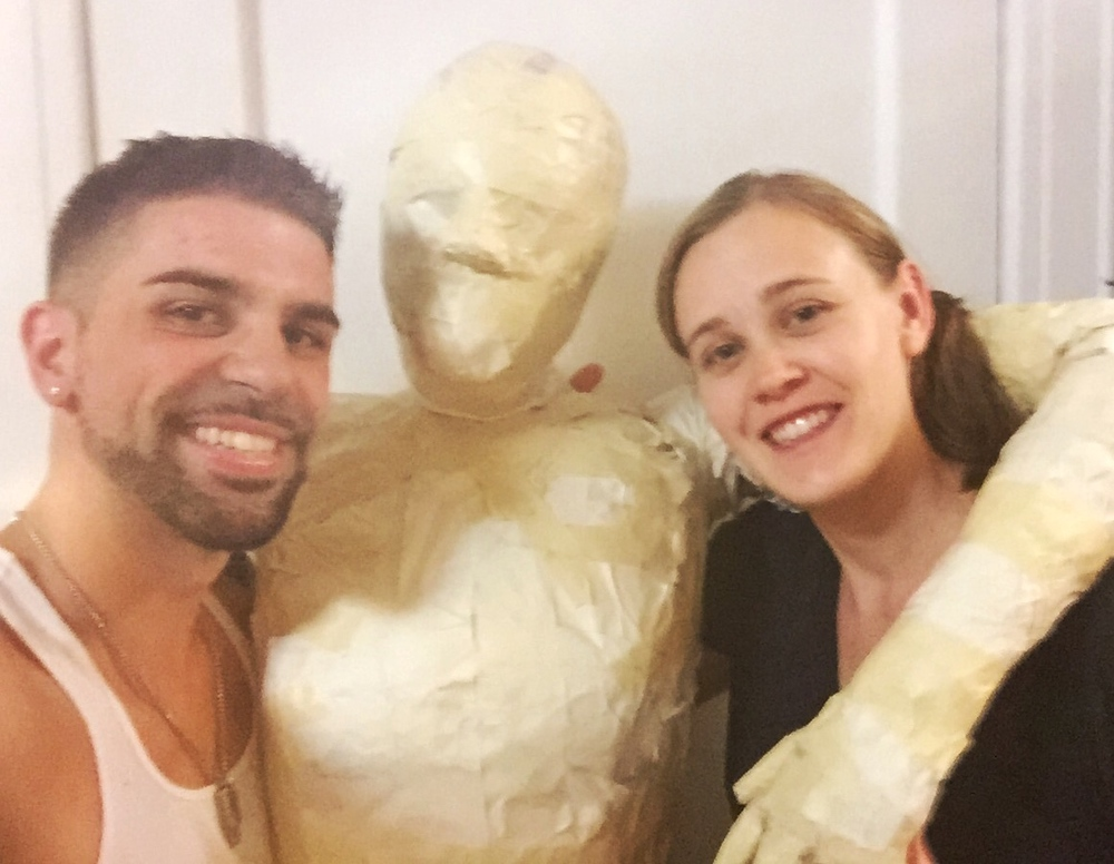 Special Effects Artist and Sculptor Jessica Hayward with director Chase Michael Pallante working on the creation of our dummy for production.