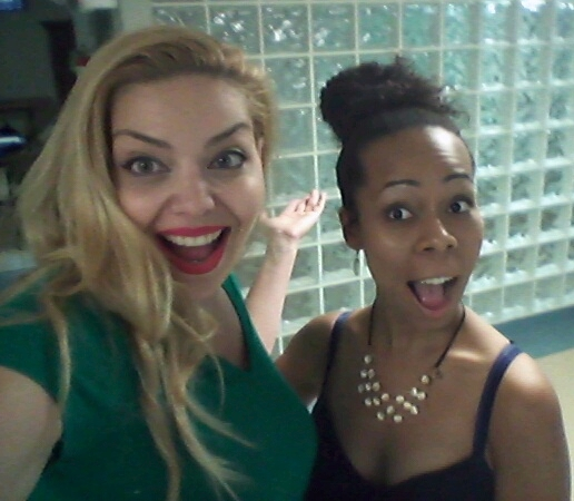 Actress Janet Miranda and Shanae Harris having fun at rehearsals for the film.