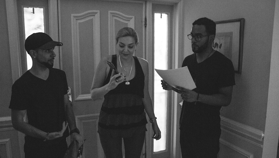 Director/Producer Chase Michael Pallante and Assistant Director Christian Reyes discussing blocking with Actress Janet Miranda.