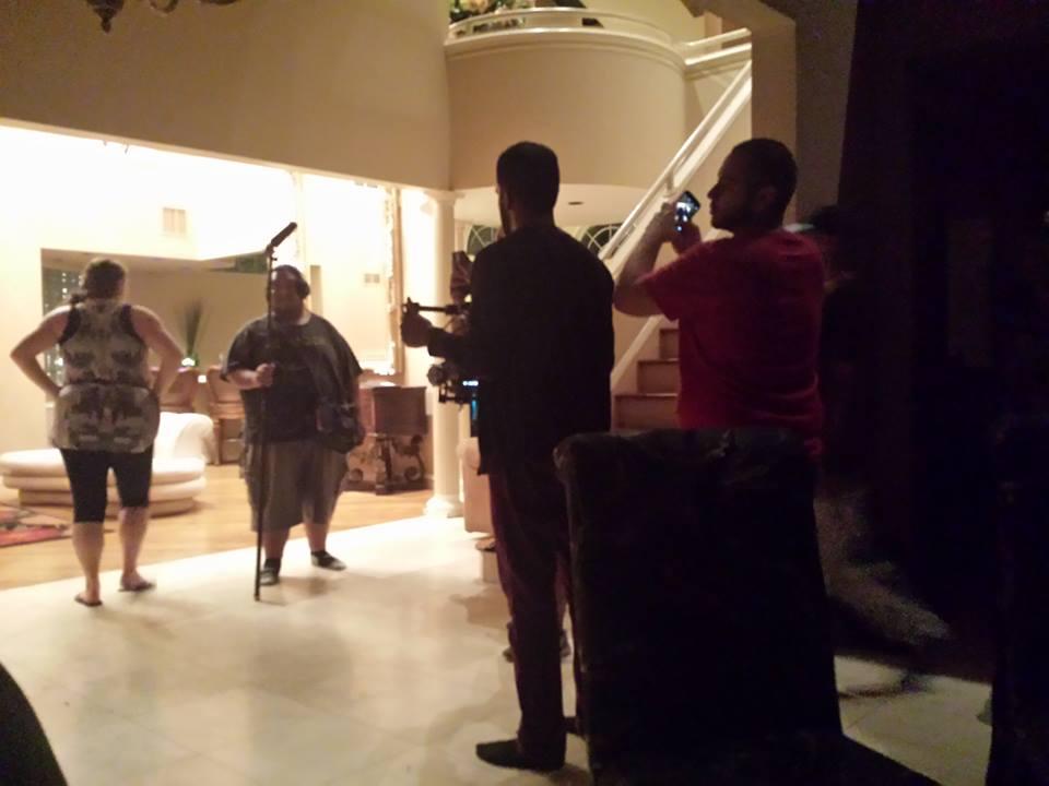 Crew members on set.