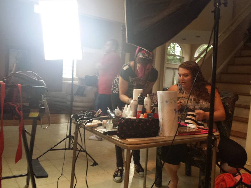 Hair and Makeup station on set.