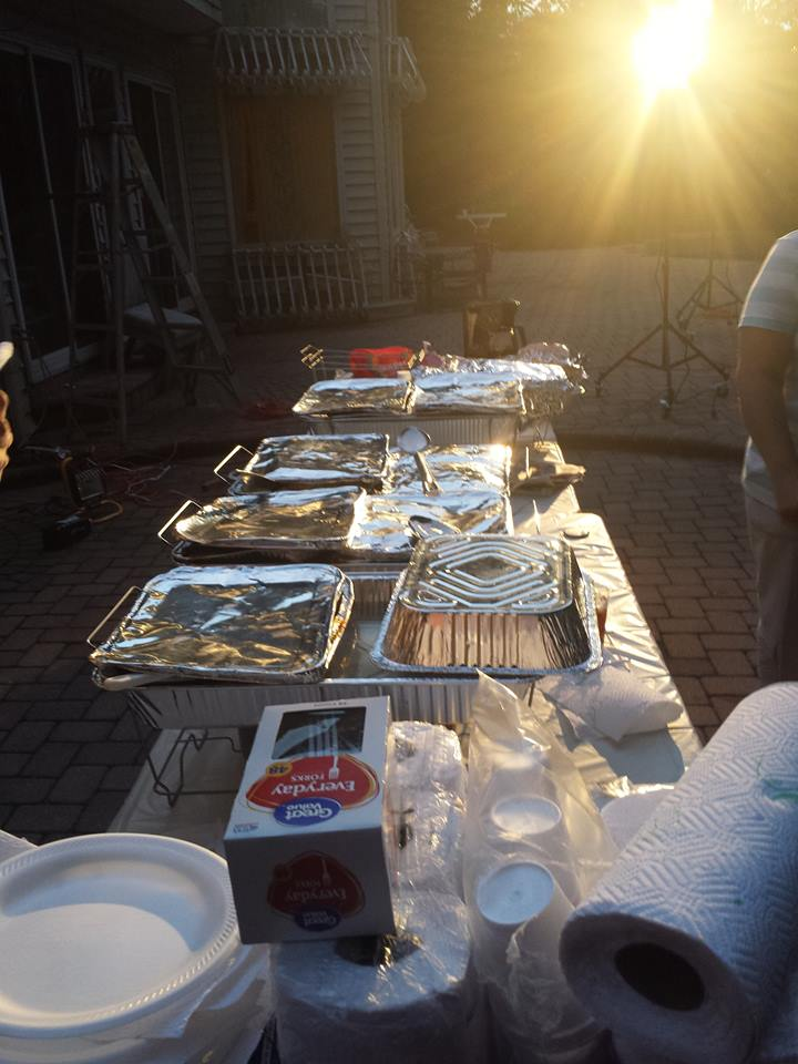 Catered food on set for the cast and crew.