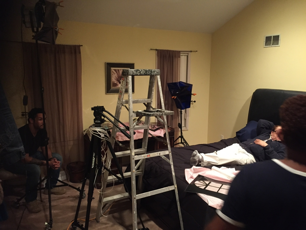 Setting up the equipment for the bedroom scene.
