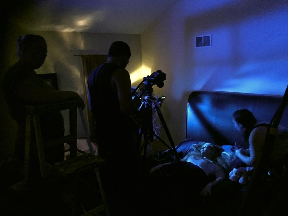 Crew on set.