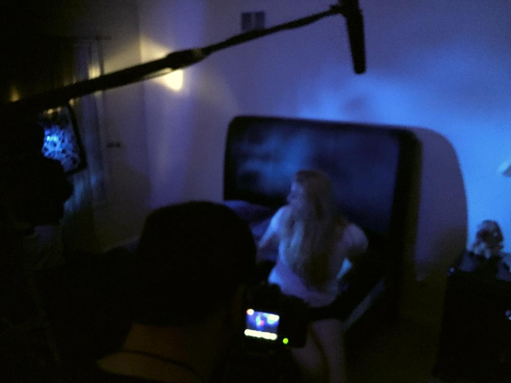 On set ready to film.