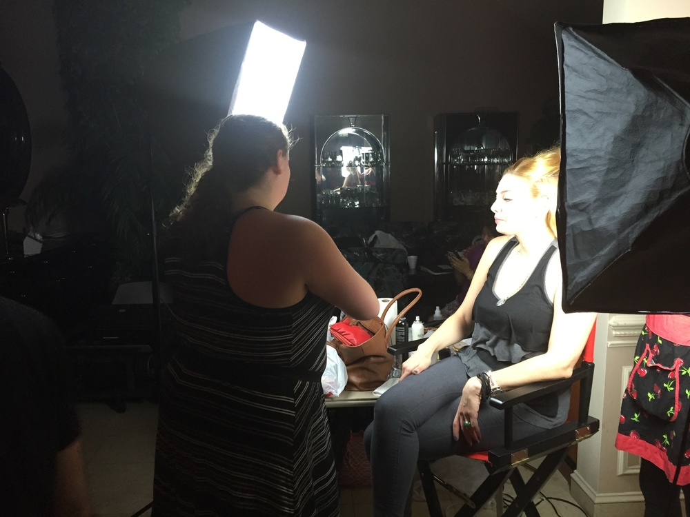 Makeup Artist Sara Ritmiller with Actress Janet Miranda.