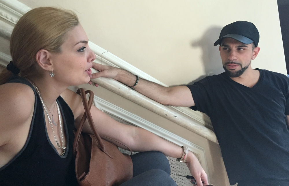 Actress Janet Miranda and Director/Producer Chase Michael Pallante discussing the days shoot.