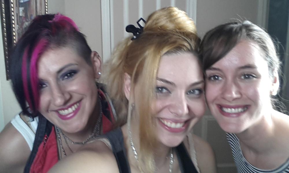 Hair Stylist Jody Trawinski,Actress Janet Miranda and Production Designer Maggie Stapleton enjoying themselves with a selfie on set.