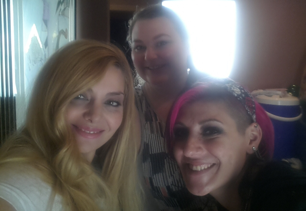 Makeup Artist Sara Ritmiller, Hair Stylist Jody Trawinski and Actress Janet Miranda on set.