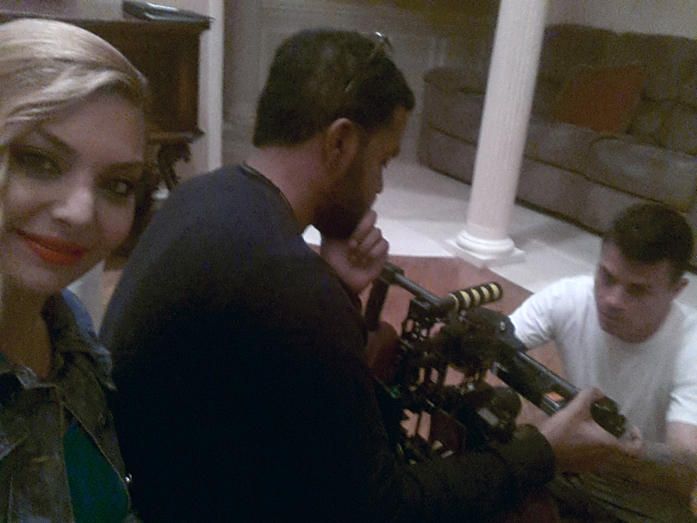 Actress Janet Miranda with Assistant Director Christian Reyes and Cinematographer Jorge Canaveral.