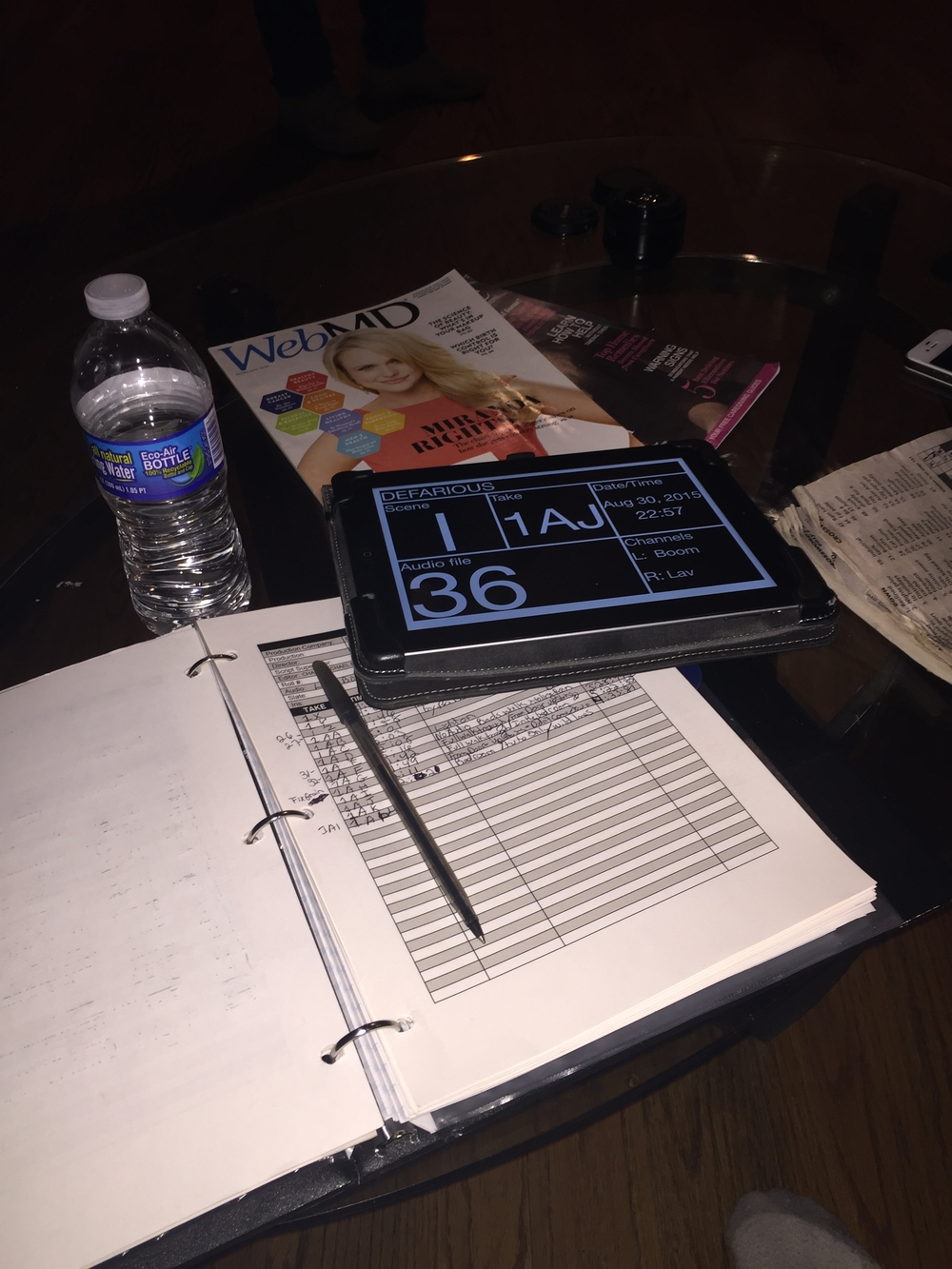 Script Supervisor daily logs and digital slate.