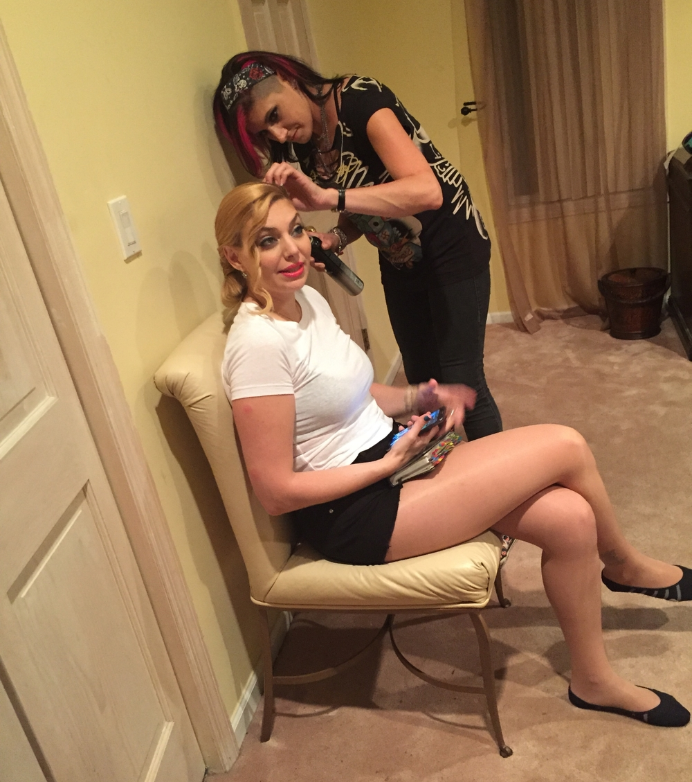 Touch ups from Hair Stylist Jody Trawinski for Actress Janet Miranda.