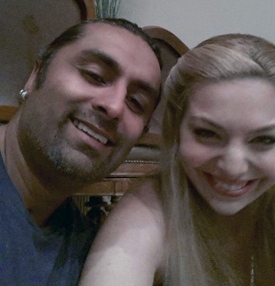 Stunt Coordinator Alim H. Ali with Actress Janet Miranda having fun on set.