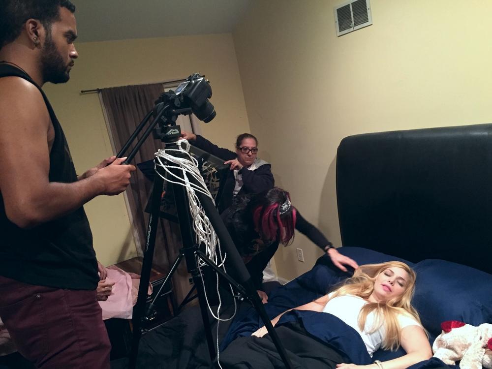 Crew preparing for a scene.