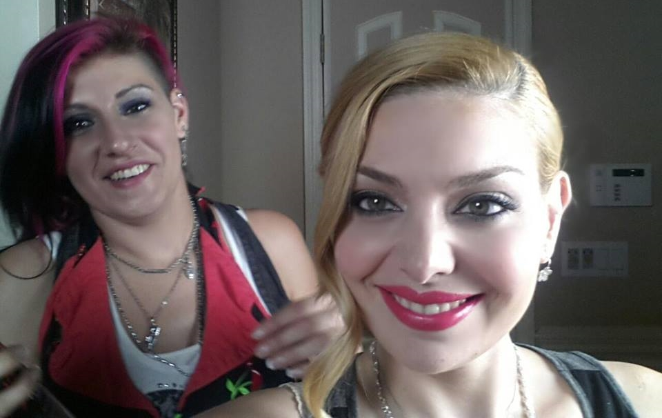 Hair Stylist Jody Trawinski and Actress Janet Miranda taking a selfie.